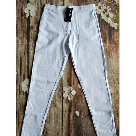 Quần legging nữ màu trắng chất cotton thun 3