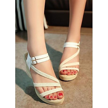 Giày Sandal Nữ Đế Suồng 7P Quai Cói - Đen 1