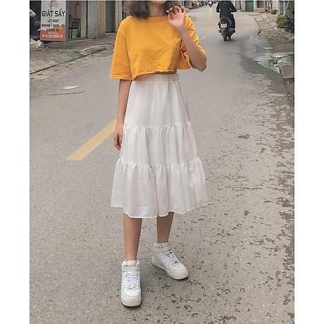Chân váy xòe 2 tầng cạp chun dáng dài vải voan 2 lớp freesize xinh xắn thoải mái 6