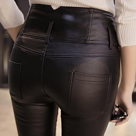 Quần da nữ cao cấp lưng cao gọn bụng kiểu dáng phong cách - NP663 4