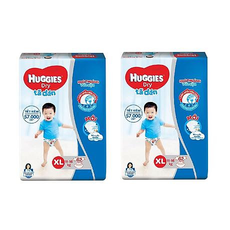 2 Gói Tã Dán Huggies Dry Gói Cực Đại XL62 (62 Miếng) - Bao Bì Mới 1