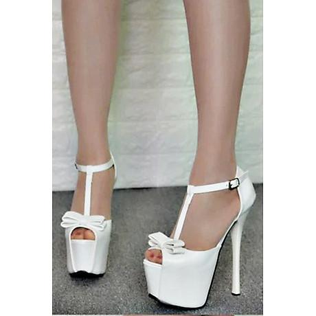 Giày Sandal Cao Gót Đế Kép Đính Nơ 2