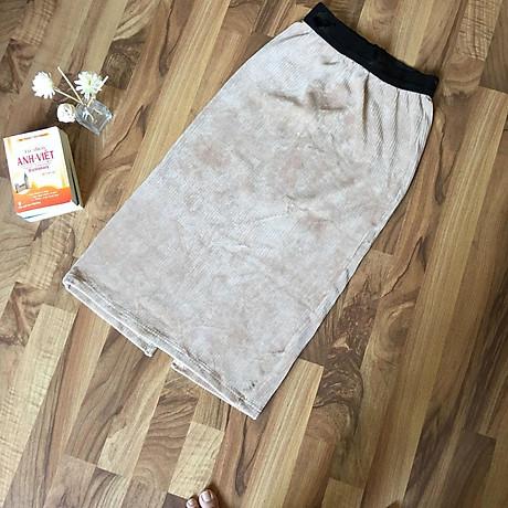 Chân váy bút chì chất gấm nhung tăm mềm mịn cạp lưng thấp co giãn xẻ tà sau 1