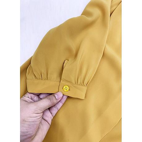 Áo sơ mi công ở kiểu áo sơ mi nữ xếp ly kèm phụ kiện ROMI 3099 6