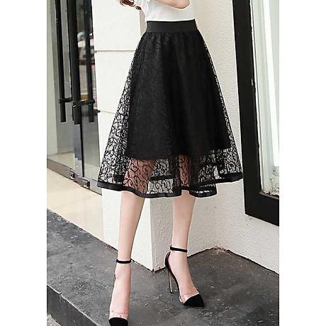 Chân váy ren dáng xòe 2 lớp dày đẹp thời trang Hàn Quốc DVCV18 1