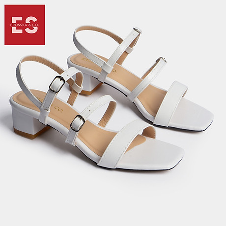 Gia y sandal cao gót Erosska thơ i trang mũi vuông phô i dây quai ma nh cao 3cm EB018 1