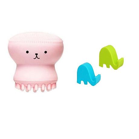 Cọ Rửa Mặt Bạch Tuộc tặng giá đỡ điện thoại hình voi con cho bạn cảm giác Massage Thư giãn mọi lúc 1