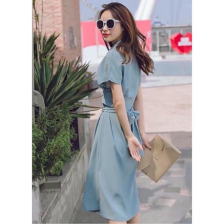 Đầm sm xám xanh thắt eo 3
