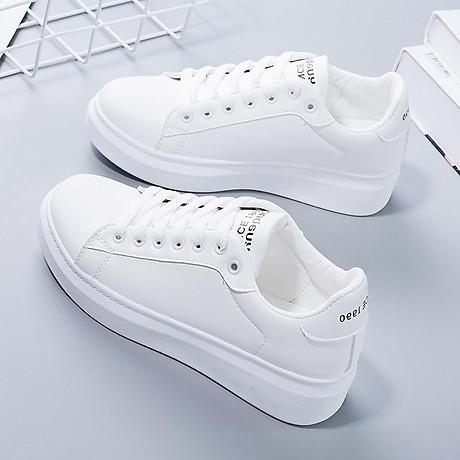 Giày thể thao nữ - giày sneaker nữ mầu trắng đế cao ST008W 1
