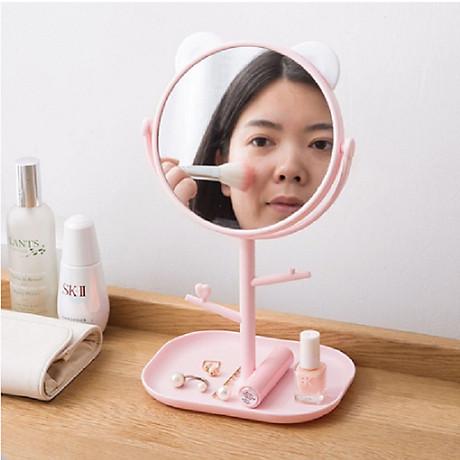Gương trang điểm tai mèo tròn xoay 360 độ 5