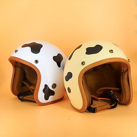 Mũ Bảo Hiểm 3 4 Đầu SRT Tem Bò Sữa Đáng Yêu Lót Nâu Cao Cấp - Tặng Nón Lưỡi Trai 3