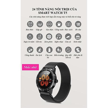 Đồng hồ thông minh đo nhịp tim, huyết áp T5 ( Sang trọng, độc đáo ) - Hàng Nhập Khẩu - Dây thép đen 7
