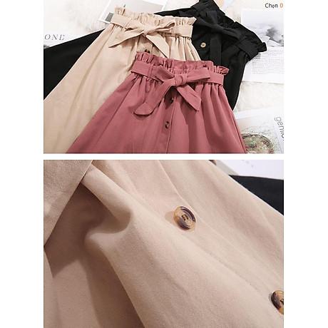 Chân váy nữ thời trang chữ A đính cúc kèm dây đai thắt nơ vải kaki cao cấp free size VAY05 3