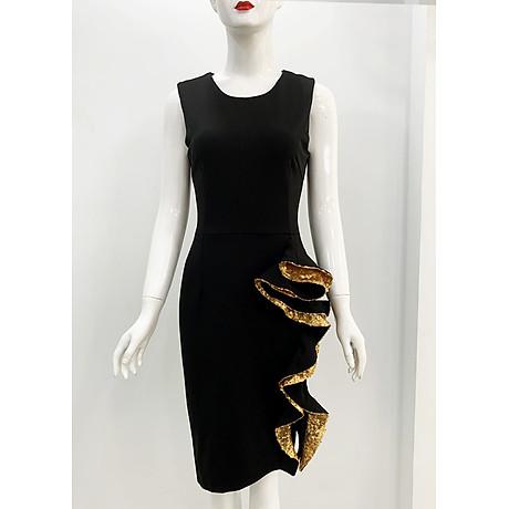 Đầm ôm dự tiệc đủ size kiểu đầm phối cách điệu tà bèo kim sa vàng GOTI3048 3