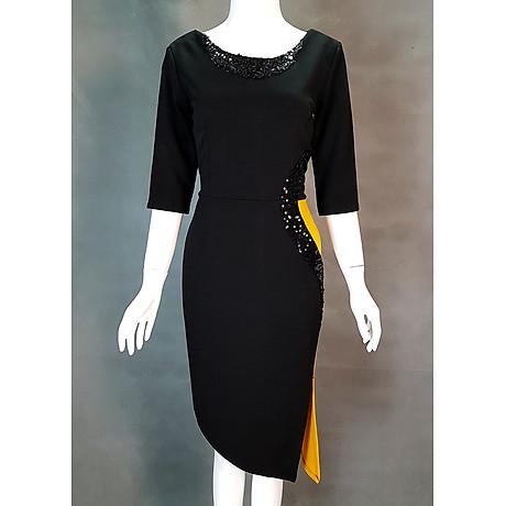 Đầm ôm dự tiệc kiểu đầm ôm xẻ tà phối kim sa sang trọng SC387215 4
