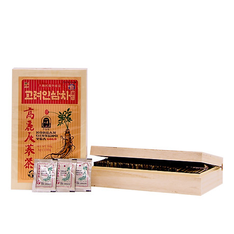 Trà hồng sâm Hàn Quốc Okinsam Hộp gỗ 100 gói - Dạng bột giúp giải nhiệt, giảm mệt mỏi, tỉnh táo tinh thần 1