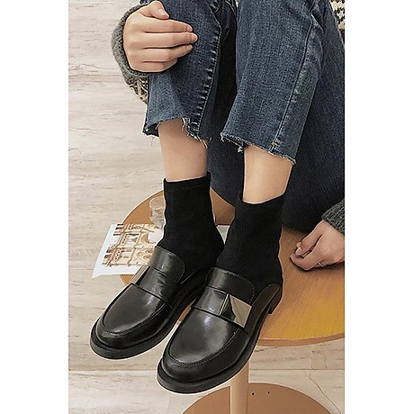 Giày Boot Nữ Da Phối Da Lộn 1