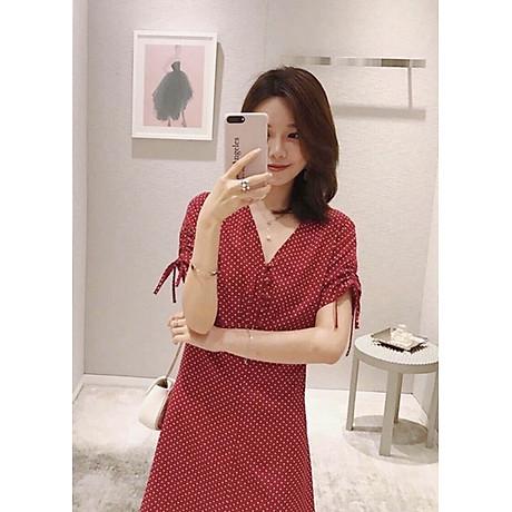 Đầm bi đỏ tay rút 2