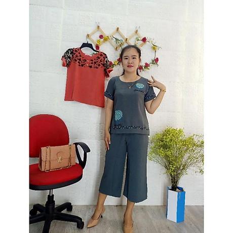 Đồ bộ mặc nhà vải đũi ống rộng lững cao cấp 8