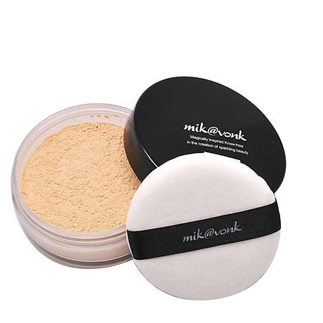 Phấn phủ bột kiềm dầu Mik vonk Blooming Face Powder Hàn Quốc 30g NB21 Light Beige Pearl tặng kèm móc khoá 6