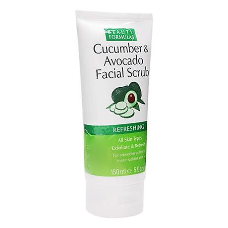 Sữa rửa mặt Beauty Formulas Cucumber & Avocado Facial Scrub 150ml - tẩy tế bào chết tinh chất dưa leo 1