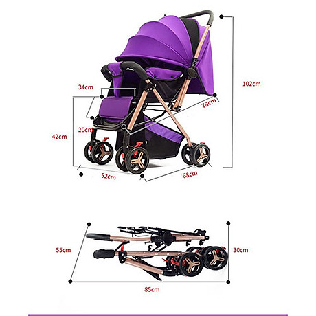 Xe đẩy cho bé HUAYING ,Xe đẩy em bé 2 chiều 3 tư thế màu đỏ,màu xanh,màu kaki,màu hồng 6