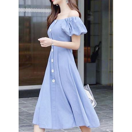 Đầm mila xanh nút trắng form dài 3