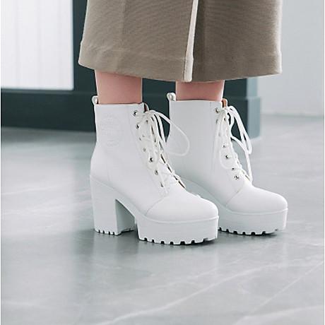 Giày Boot Trắng Gót 7 Phân 2