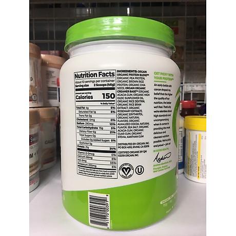 Bột Protein thực vật hữu cơ Orgain Organic Protein Greens 462g hương socola 4