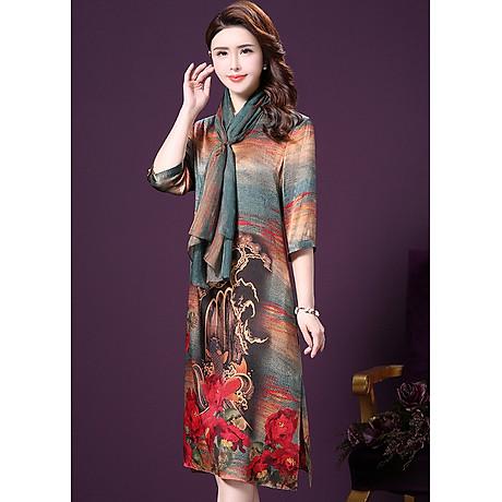 Đầm Suông BigSize Cổ Trụ In Họa Tiết Hoa Và Cá Kiểu Đầm Suông Trung Niên Dự Tiệc Size Lớn ROMI 1521D 7