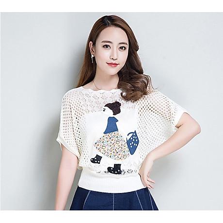 Áo len nữ mỏng nhẹ họa tiết cô gái Haint Boutique Al37 3