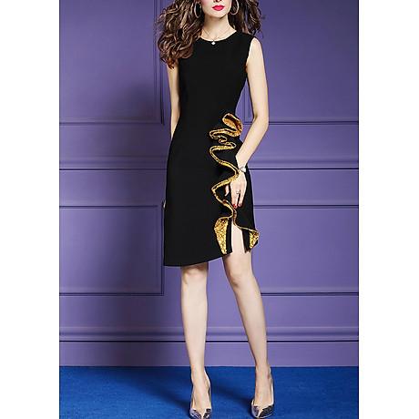 Đầm ôm dự tiệc đủ size kiểu đầm phối cách điệu tà bèo kim sa vàng GOTI3048 5