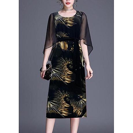 Đầm Suông BigSize In Hoa Lá Kiểu Đầm Suông Trung Niên Dự Tiệc Size Lớn ROMI 3269 1