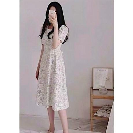 Đầm bi trắng cột nơ V2 1