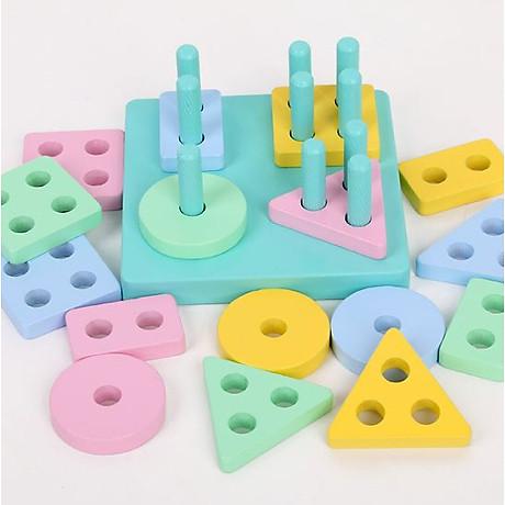Combo 6 món đồ chơi gỗ an toàn cho bé- phát triển trí tuệ (Đàn gỗ, sâu gỗ, luồn hạt, thả hình 4 trụ, đồng hồ sâu hạt, tháp gỗ) 6