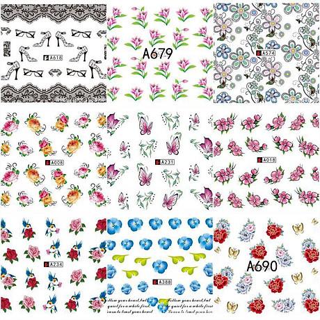 Bộ 10 tấm decal dán móng họa tiết bông hoa, cánh bướm - sticker trang trí móng nghệ thuật Nail art sang trọng H10 7