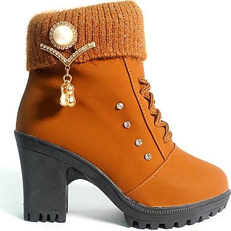 Giày boot nữ đế vuông S106 (Nâu) êm chân, phù hợp đi bộ, đi chơi. 1