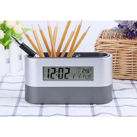Hộp đựng bút kiêm đồng hồ để bàn V3 (Tặng kèm quạt mini cắm cổng USB vỏ nhựa giao màu ngẫu nhiên) 1
