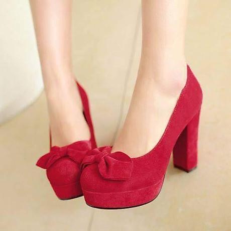 Giày cao gót 10cm mũi phối nơ cách điệu cao cấp 2