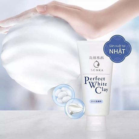 Combo 2 Tuýp Sữa Rửa Mặt Đất Sét Trắng Sạch Sâu Sáng Mịn Senka Perfect White Clay Chiết Xuất Tơ Tằm Dưỡng Ẩm (120g) 2