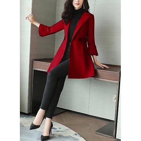 Áo khoác dáng dài kiểu áo khoác kaki măng tô phối tay loe tầng ROMI 3106 3