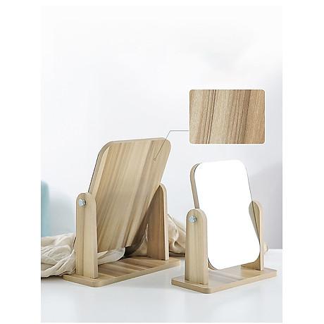 Gương soi trang điểm để bàn cao cấp xoay được 360 độ tiện dụng chất liệu gỗ ép chắc chắn kích thước 17 x 22 cm - Gương gỗ để bàn Trang Điểm 4