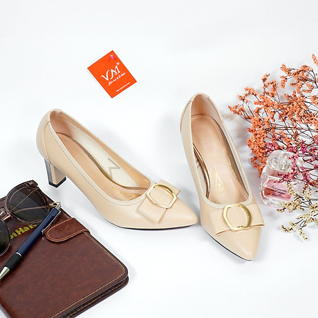 Giày cao gót nữ, cao 7CM, da Microfiber nhập khẩu cao cấp êm ái. Mũi nhọn, gót trụ bọc miếng kim loại vững BL.P5306.7F 4