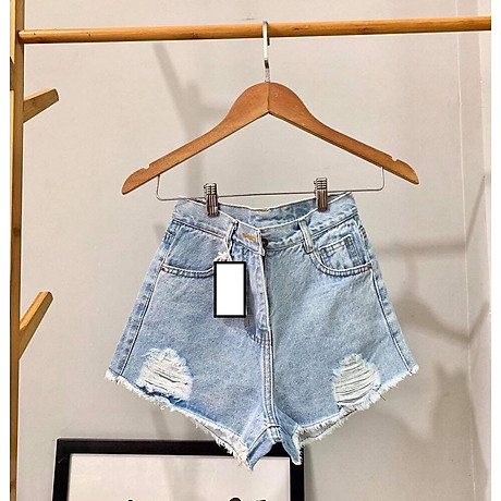 Quần short nữ lưng cao Julido S20 chất jean, một màu, ba kích thước thời trang trẻ trung 6
