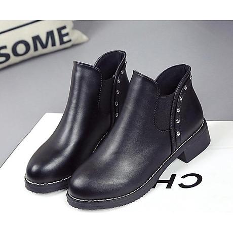Giày bốt nữ boots chelsea viền đinh đế thấp S046 4