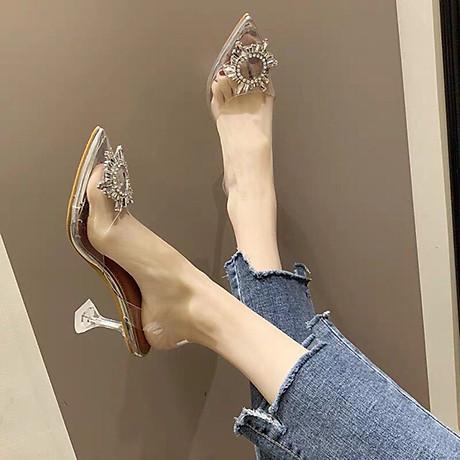 Giày Sandal Nữ Cao Gót Hoa Mặt Trời Trong Suốt Gót 5p Êm Chân kèm Tất Vớ Da Chân - Giày cao gót nữ quai trong hoa đá- mũi nhọn sang chảnh 8