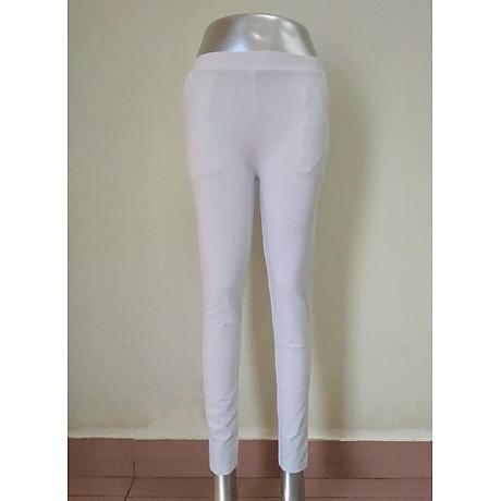 Quần legging nữ màu trắng chất cotton thun 1