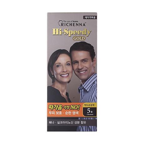 Thuốc nhuộm tóc phủ bạc thảo dược Richenna Hi-Speedy Gold Hàn Quốc màu nâu hạt dẻ tối 150g 1