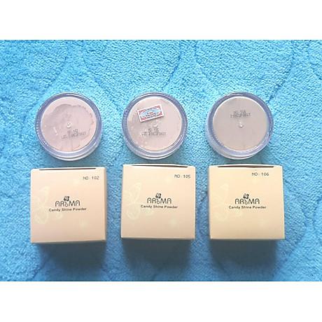 Phấn phủ bột kiềm dầu Aroma Candy Shine Powder Hàn Quốc 10g No.103 Da trắng hồng tặng kèm móc khoá 7
