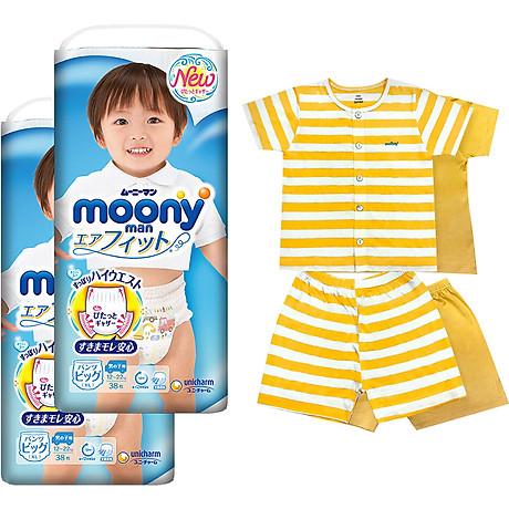 Bộ 2 tã quần cao cấp bé trai Moony XL38 [Tặng bộ quần áo Nous 18-24m] 1